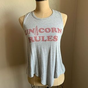 Gaze sleeveless Unicorn Rules super soft tank top.